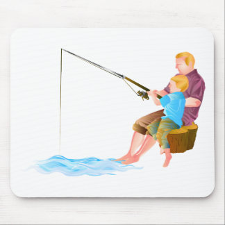 Father and son fishing mouse pad