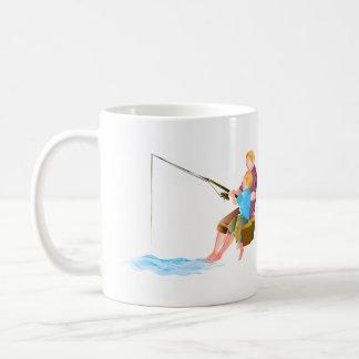 Father and son fishing coffee mug