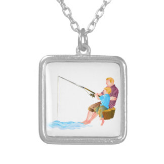 Father and son fishing pendants