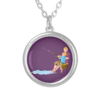Father and son fishing custom necklace