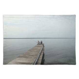 Father and Son Fishing on Lake Placemat Cloth Placemat