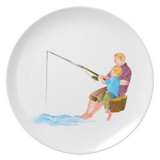 Father and son fishing plate