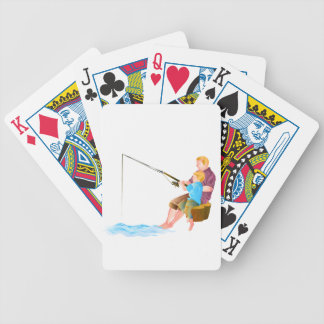 Father and son fishing card deck