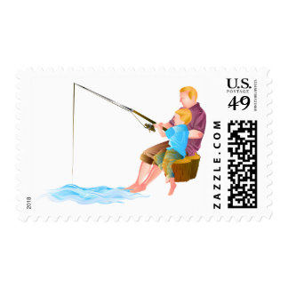 Father and son fishing postage