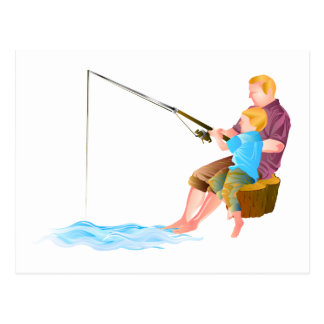 Father and son fishing postcards