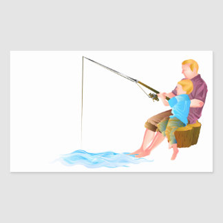 Father and son fishing rectangle stickers
