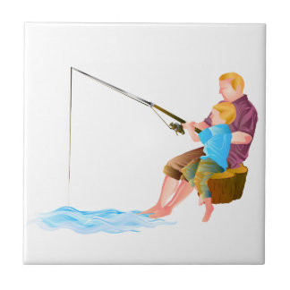 Father and son fishing tile