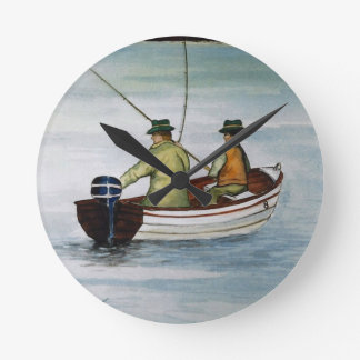 Father and son fishing trip round clock