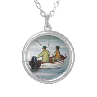 Father and son fishing trip silver plated necklace