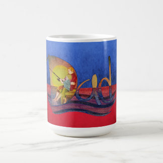 Father and son fishing vintage mugs