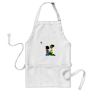 Father And Son Flying Kite Apron