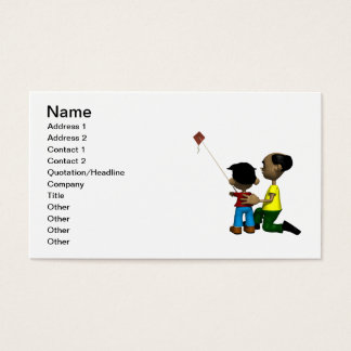 Father And Son Flying Kite Business Card