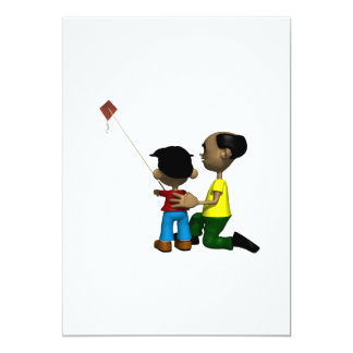 Father And Son Flying Kite Card
