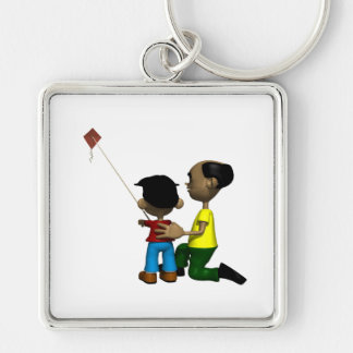 Father And Son Flying Kite Key Chains