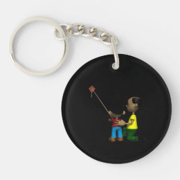 Father And Son Flying Kite Keychain
