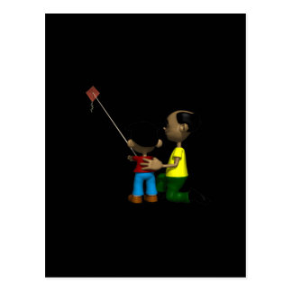 Father And Son Flying Kite Postcard
