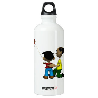Father And Son Flying Kite Water Bottle