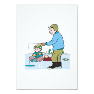 Father And Son Ice Fishing 5x7 Paper Invitation Card