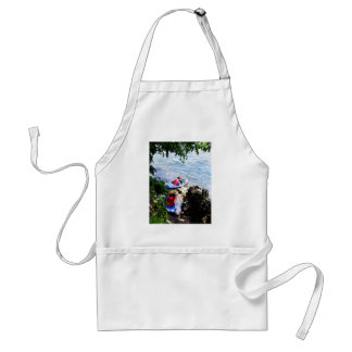 Father and Son Launching Kayaks Aprons