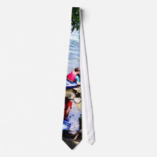 Father and Son Launching Kayaks Neck Tie