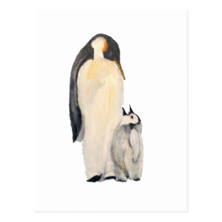 """""""Father And Son Penguin"""" Vertical Postcard"""