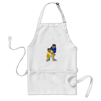 Father and son playing one on one adult apron