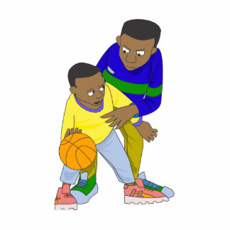 Father and son playing one on one photo sculpture