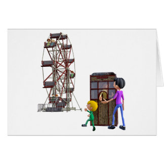 Father and Son ready to ride a Ferris Wheel Card