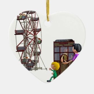 Father and Son ready to ride a Ferris Wheel Ceramic Ornament