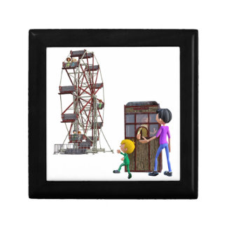 Father and Son ready to ride a Ferris Wheel Jewelry Box