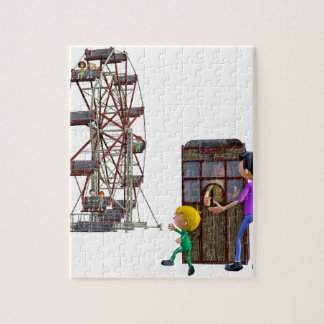 Father and Son ready to ride a Ferris Wheel Jigsaw Puzzle