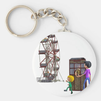 Father and Son ready to ride a Ferris Wheel Keychain