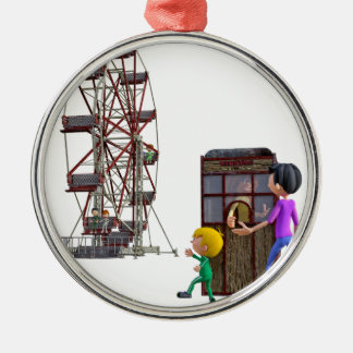 Father and Son ready to ride a Ferris Wheel Metal Ornament