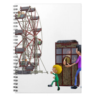 Father and Son ready to ride a Ferris Wheel Notebook