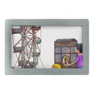 Father and Son ready to ride a Ferris Wheel Rectangular Belt Buckle