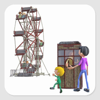 Father and Son ready to ride a Ferris Wheel Square Sticker