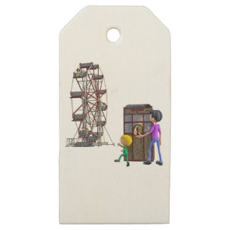 Father and Son ready to ride a Ferris Wheel Wooden Gift Tags