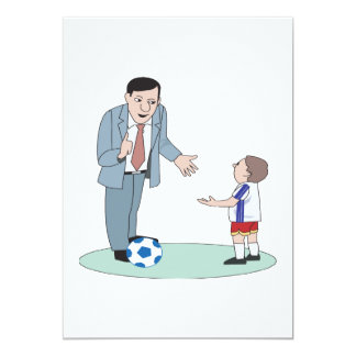 Father And Son Soccer 5x7 Paper Invitation Card