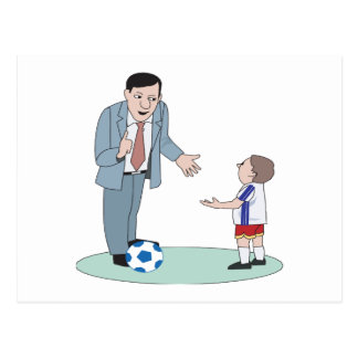 Father And Son Soccer Postcard