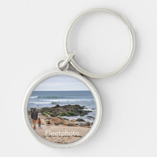 Father and Son Strolling Montauk Beach Key Chains
