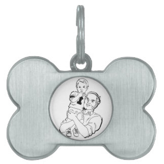 Father and Son Time Pet Name Tag