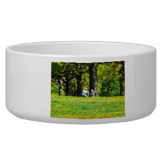 Father and Son Under the Trees Pet Food Bowls