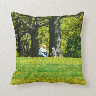Father and Son Under the Trees Pillow