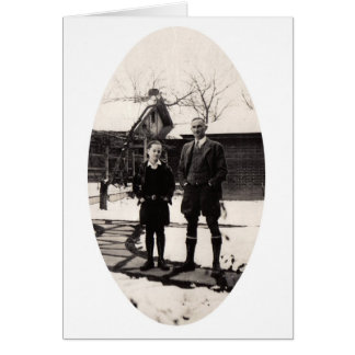 Father and Son, Winter scene Card