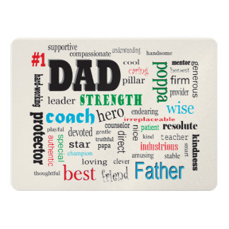 Father Best Word Cloud Dad Card