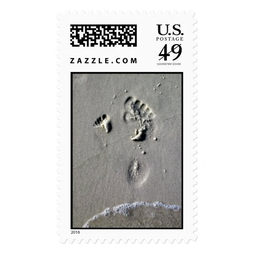 Father & Child Footprints in the Sand Postage