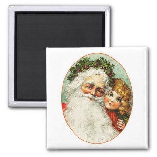 Father Christmas & Child Portrait Vintage Magnet