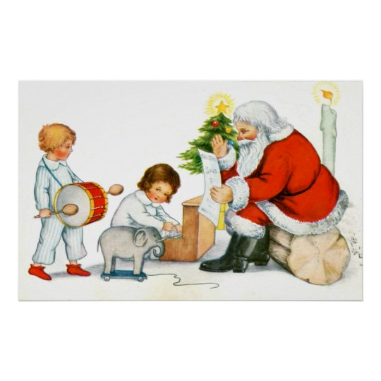 Father Christmas, children and toys Poster