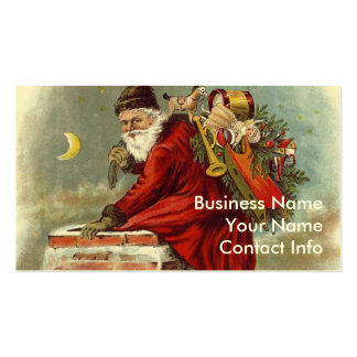 Father Christmas Chimney Rooftop Business Card Template