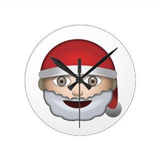 Father Christmas Emoji Round Wallclocks